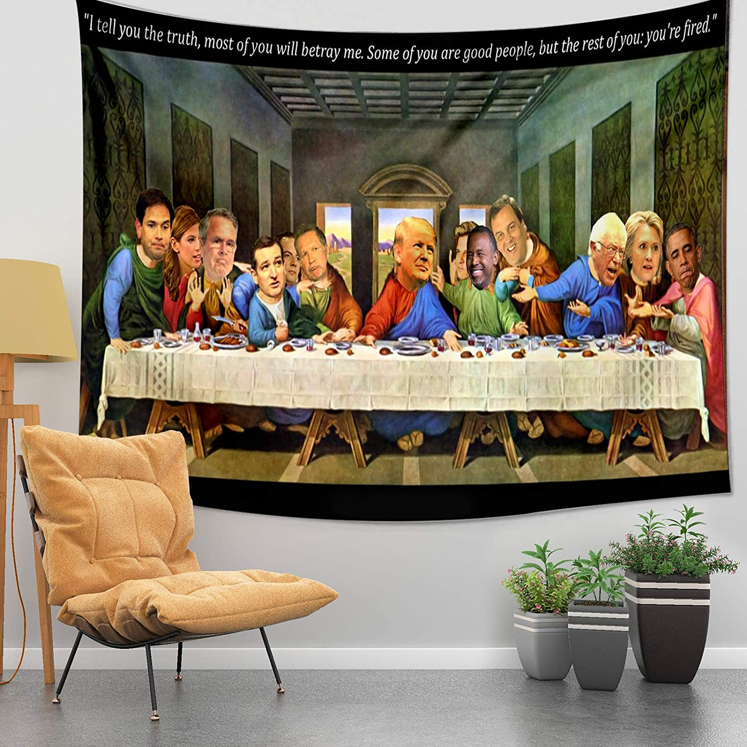 Funny Tapestry Tru-m-p's last s-up-per Art Tapestries Wall Décor for Dorm Bedroom Home Decor 60*40in