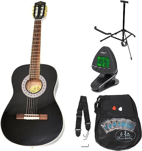 Guitarra acústica clásica de 3/4 para niños negra con accesorios ...