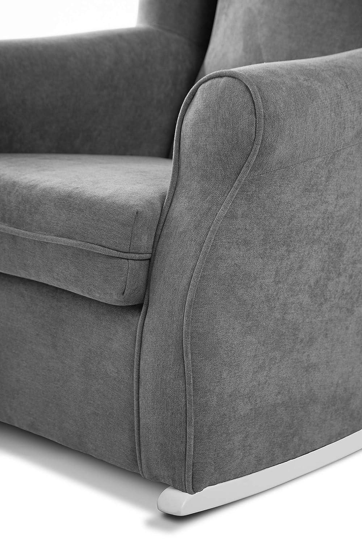 SUENOSZZZ - Sillon orejero balancin Mecedora. Irene (Sillon Lactancia) Sillón tapizado Antimanchas acualine Color Gris. Mecedora para Dormitorio, ...