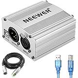 Neewer 48V USB Phantom Power Supply with 5 Feet USB Cable, XLR Cable(Silver)