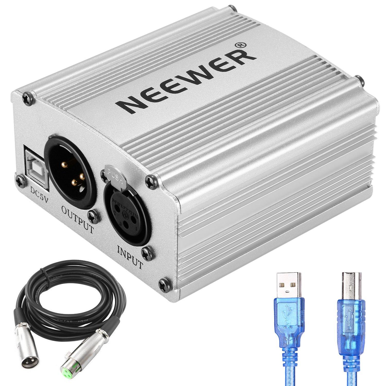 Neewer Uni-cannal 48V Alimentation Fantôme avec 1,5m USB Câble, XLR 3 Brochette Câble de Microphone pour Tous Microphone Condensateur et Equipement d'Enregistrement (Or) 40094044