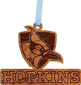 LazerEdge NCAA Wooden Ornament (Johns Hopkins - Blue Jay with Hopkins)
