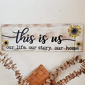 HLFMVWE This is Us Signs for Home Decor,Rustic Retro Wood Wall Decor,Sunflower Prints Wood Plaque Decoration for Bedroom Living Room
