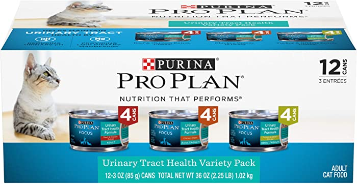 Purina Pro Plan Urinary Tract Health Wet Cat Food Variety Pack, FOCUS Urinary Tract Health Formula - (2 Packs of 12) 3 oz. Cans
