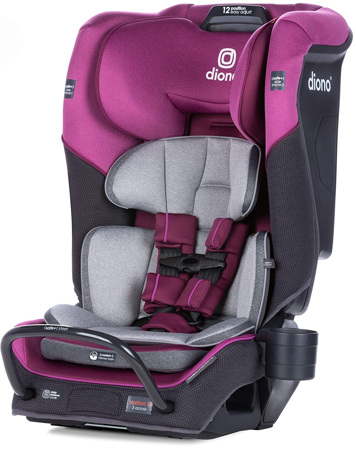 Diono 2020 Radian 3QX Latch Black Jet All-in-One Convertible Car Seat