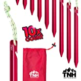 TNH Outdoors 10X Aluminum Tri-Beam Tent Stakes and Bag - Made for Camping - Support A Start Up