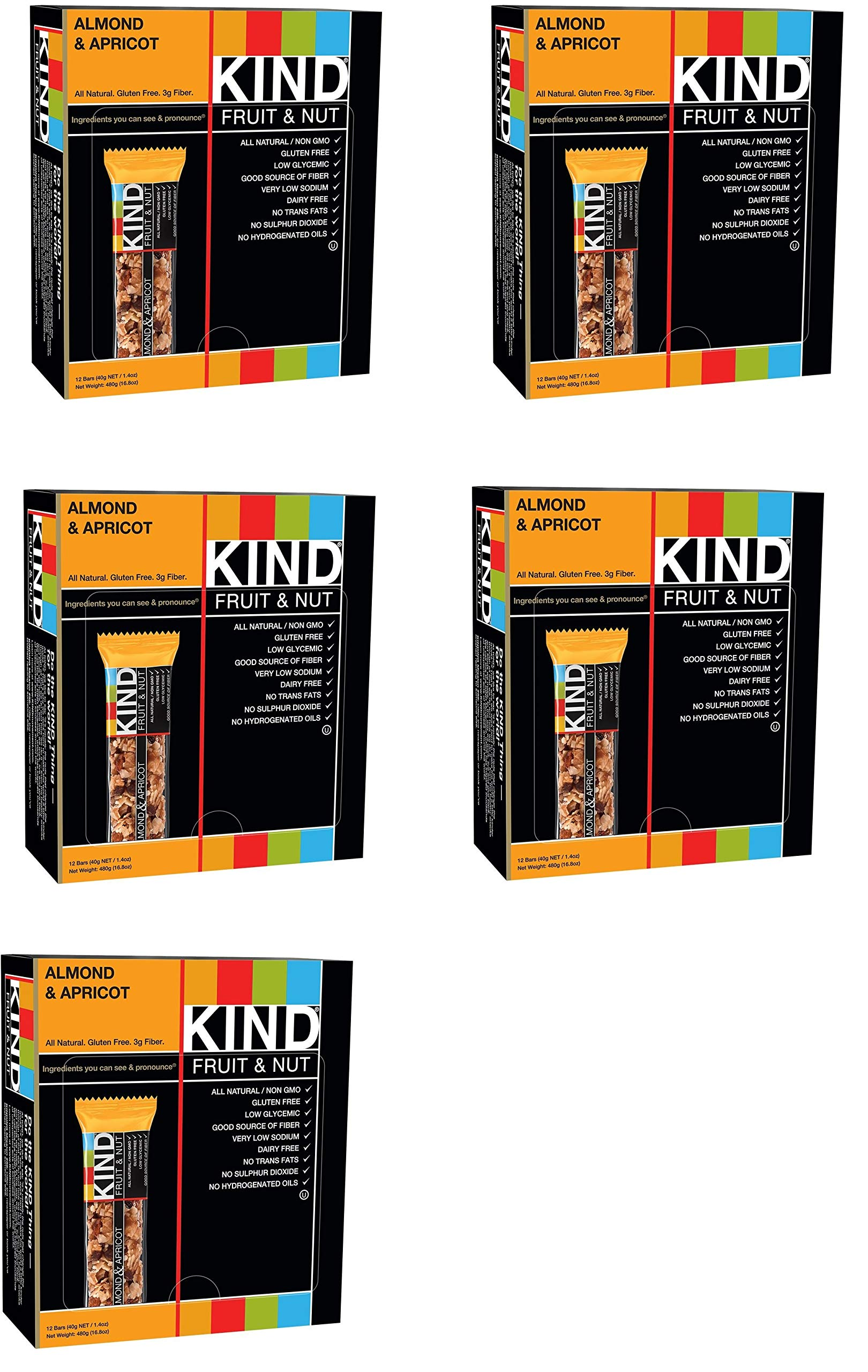 KIND Bars, Almond and Apricot, Gluten Free, 1.4oz, 60 Bars by KIND (Image #1)