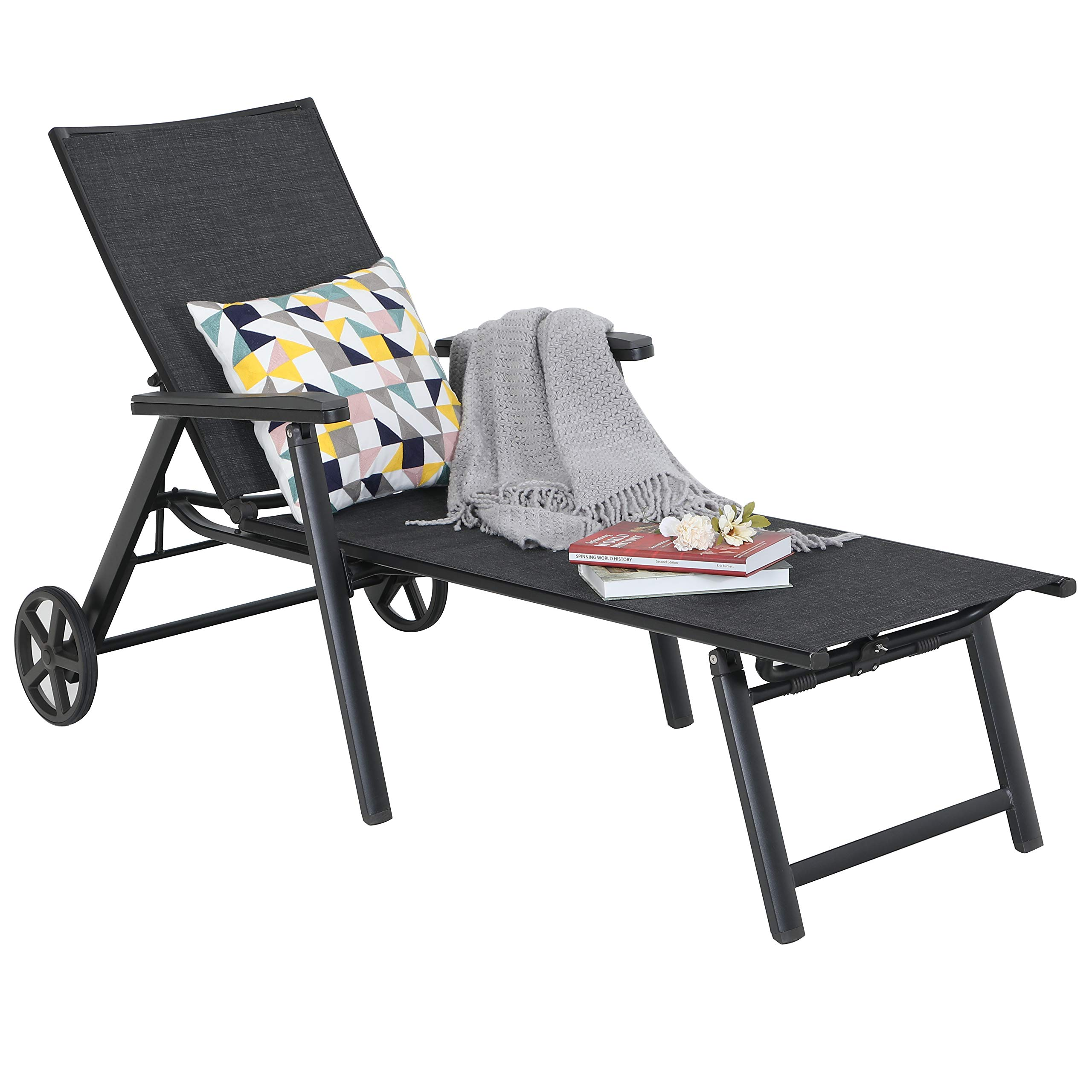 Chaise Lounge Chair Pool Recliner 5-Position Adjustable for Garden Yard Portable with Wheels Breathable Textiline Steel Frame Outdoor Patio Chair Black by MF