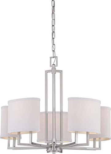 NUVO 60 4755 Five Light Chandelier, Unknown, Brushed Nickel