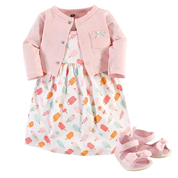 cc7941e86b516c Amazon.com: Hudson Baby 3 Piece Dress, Cardigan, Shoe Set: Clothing
