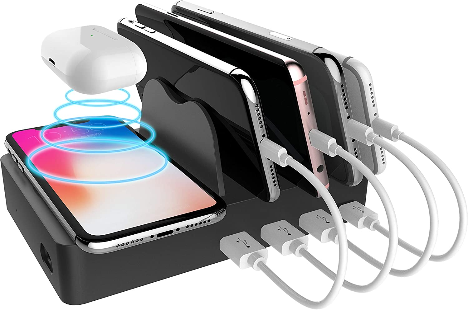 Fast Wireless Charger Dock for iPhone Airpods PD 3.0 Charger for iPhone iPad by USB-C Port Charging Station Organizer for Multiple Devices
