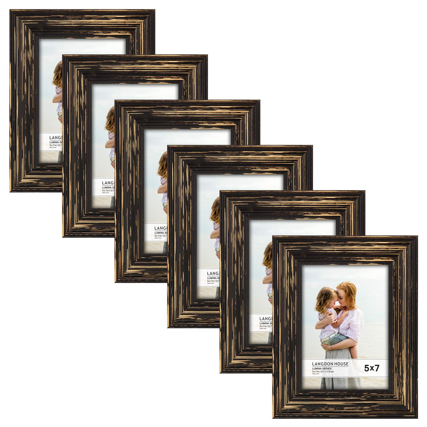 Langdon House 5x7 Real Wood Picture Frames (6 Pack, Barnwood Brown - Gold Accents), Brown Wooden Photo Frame 5 x 7, Wall Mount or Table Top, Set Of 6 Lumina Collection by Langdon House