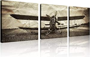 TutuBeer 3 Panels Vintage Plane Picture Aviation Art Airplane Decor Old Paper Aircraft Art Plane Decor Stretched and Framed Ready to Hang Airplane Print Artwork for Home Decor Wall Decor, 3 pcs/set