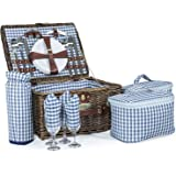Andes 4 Person Luxury Wicker Picnic Basket Hamper Set, Includes Cool Bags, Plates, Cutlery, Wine Glasses, Napkins