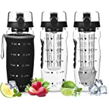 DailyNordic 32 oz Large Fruit Infuser Sports Water Bottle with Insulated Sleeve - BPA-Free, Leak Proof -Full Length Infusion