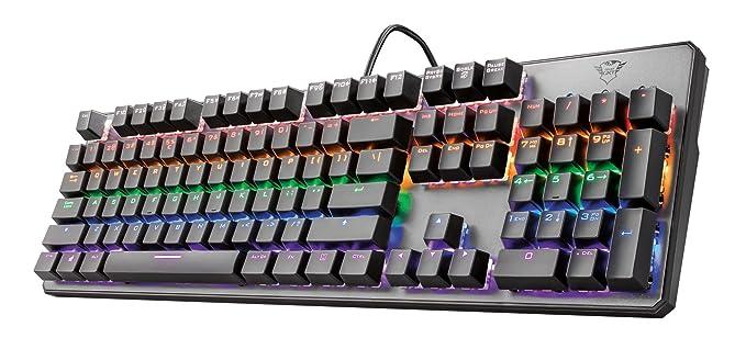 Trust Gaming GXT 865 Asta - Teclado mecánico Gaming (interruptores Respuesta rápida, 8 Modos de Color, 11 Teclas Multimedia) Color Negro: Amazon.es: ...
