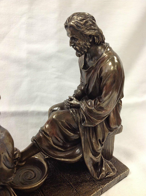 Jesus Washing His Disciple's Feet Statue Sculpture (Bronze) by WU Unicorn Studios