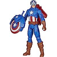 Marvel Avengers Titan Hero-reeks Blast Gear Captain America, actiefiguur van 30 cm, met launcher, 2 accessoires en…