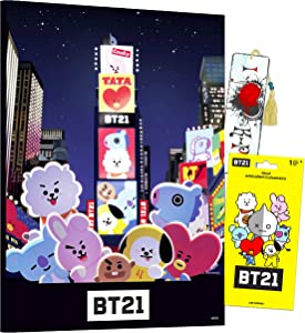 BT21 Poster Print Wall Art Bundle ~ BTS Mounted Print Poster for Kids Adults with BT21 Decal Sticker and K-Pop Bookmark (BT21 Party Decorations Room Decor)