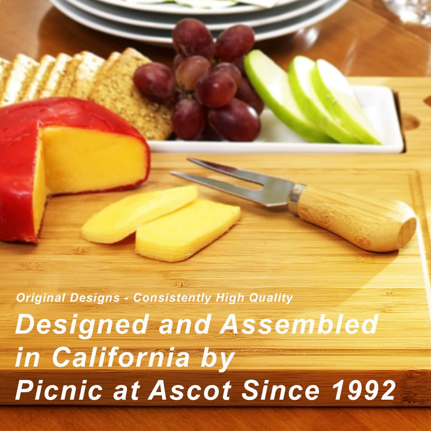 includes Knives Cheese Markers /& Ceramic Dish Picnic at Ascot Personalized Monogrammed Engraved Hardwood Cutting Board for Cheese /& Charcuterie Designed and quality Checked in the USA
