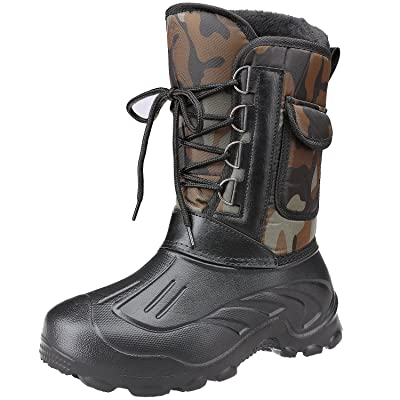 Odema Men's Nylon Winter Snow Boots Rain Shoes Waterproof Lace Up Short Duck Boots