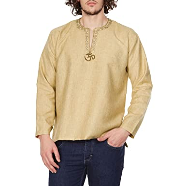 41b25bd83721d Comfortable Kurta Shirt For Men Embroidered Om Traditional Indian Wear 42  Inches: Amazon.co.uk: Clothing
