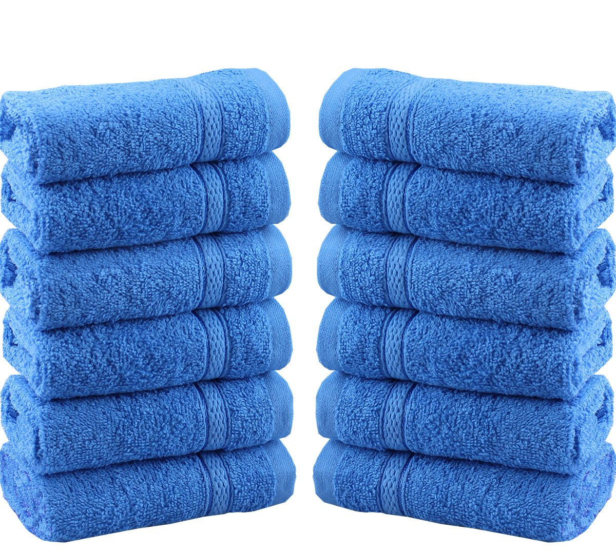 Casabella Luxury Supersoft Pack Of 12 100% Cotton Face Cloth Towels Flannels Wash Cloth 550 Gsm_Black_12 Pieces Set