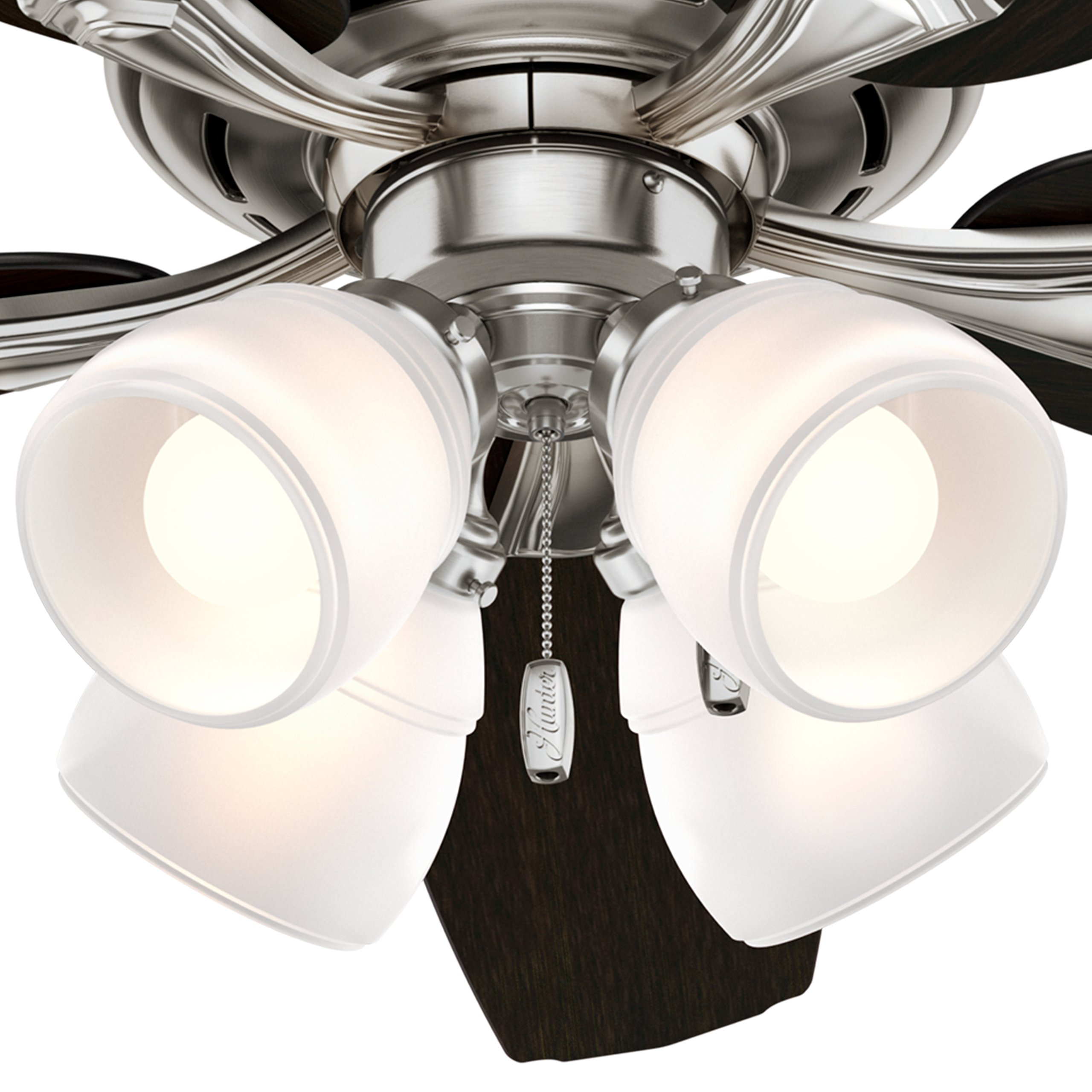 Hunter 52 in. Ceiling Fan with 4 LED Lights in Brushed Nickel (Certified Refurbished) by Hunter Fan Company (Image #3)