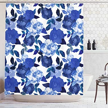 Ambesonne Flower House Decor Collection, Lively Watercolor Painted Simplistic Large Flowers and Leaves Bright Spring, Polyester Fabric Bathroom Shower Curtain Set with Hooks, White Royal Blue