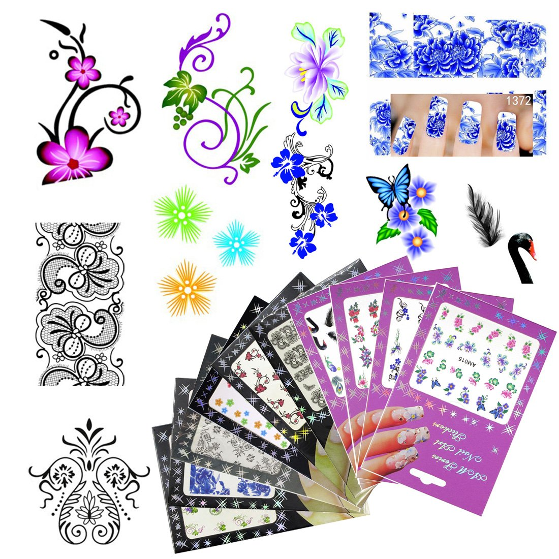 10 Pack Nail Art Sticker Water Decals Foil Adhesive UV Gel Polish Nail Stickers Set Tips Manicure Decoration DIY Accessories (ADDSET1-Style7) Addfavor
