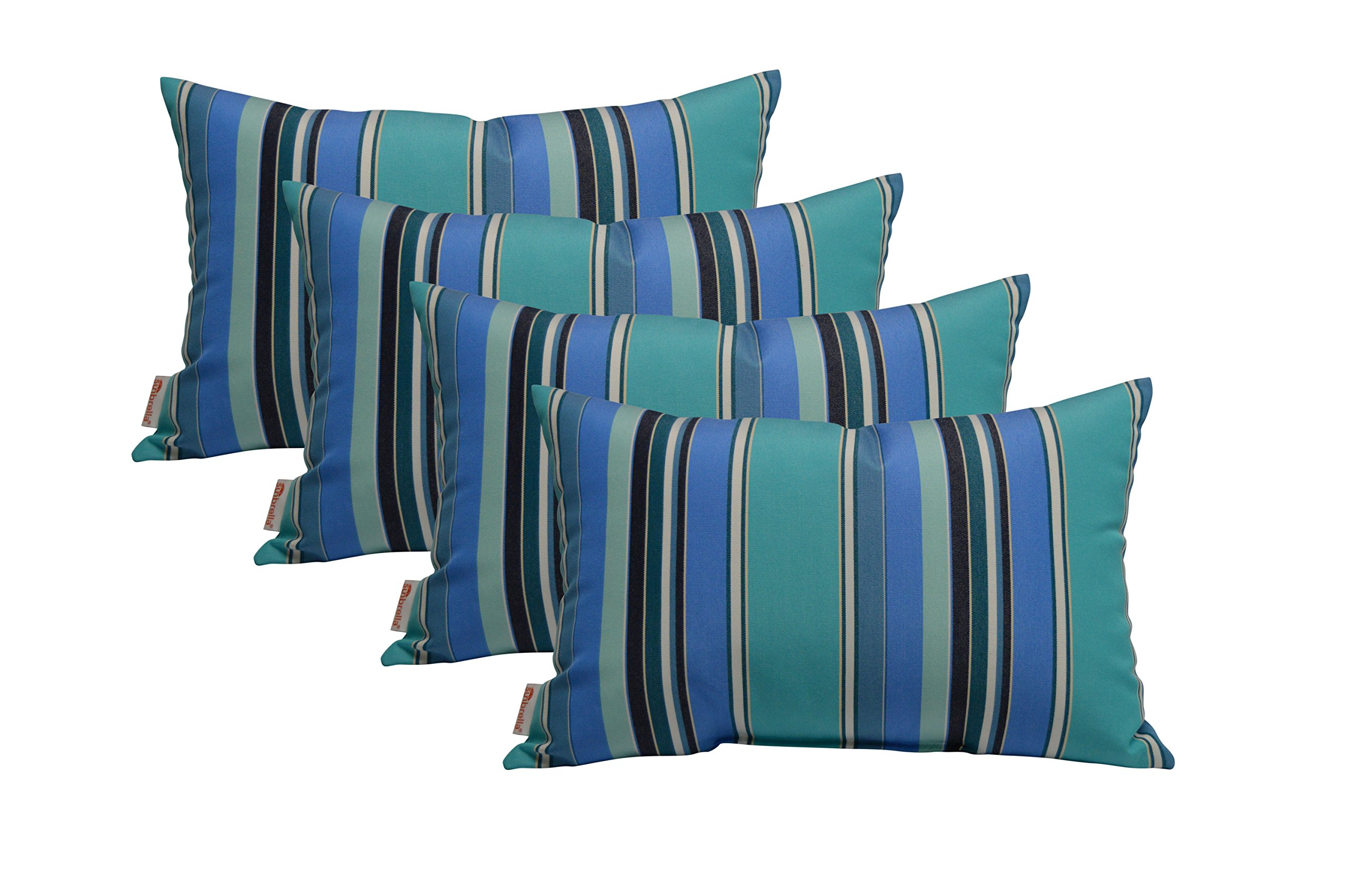 Sunbrella  Indoor / Outdoor Decorative Lumbar / Rectangle Pillows, Blue/Teal/Navy/White Stripe, Set Of 4 by Sunbrella