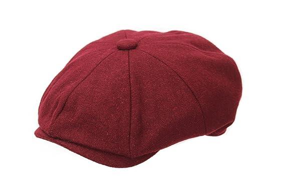 5d3b9bac The Hat Outlet Men's Maroon Wool Melton 8 Piece Newsboy Flat Cap ...
