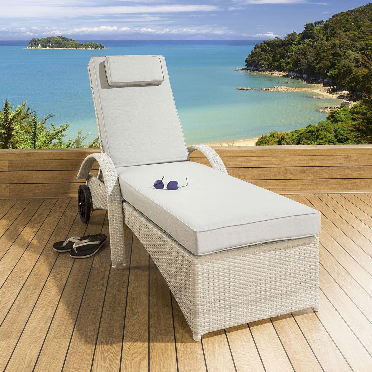 Gran lujo Garden tumbona de ratán/tomando el sol/Day Bed piedra ...