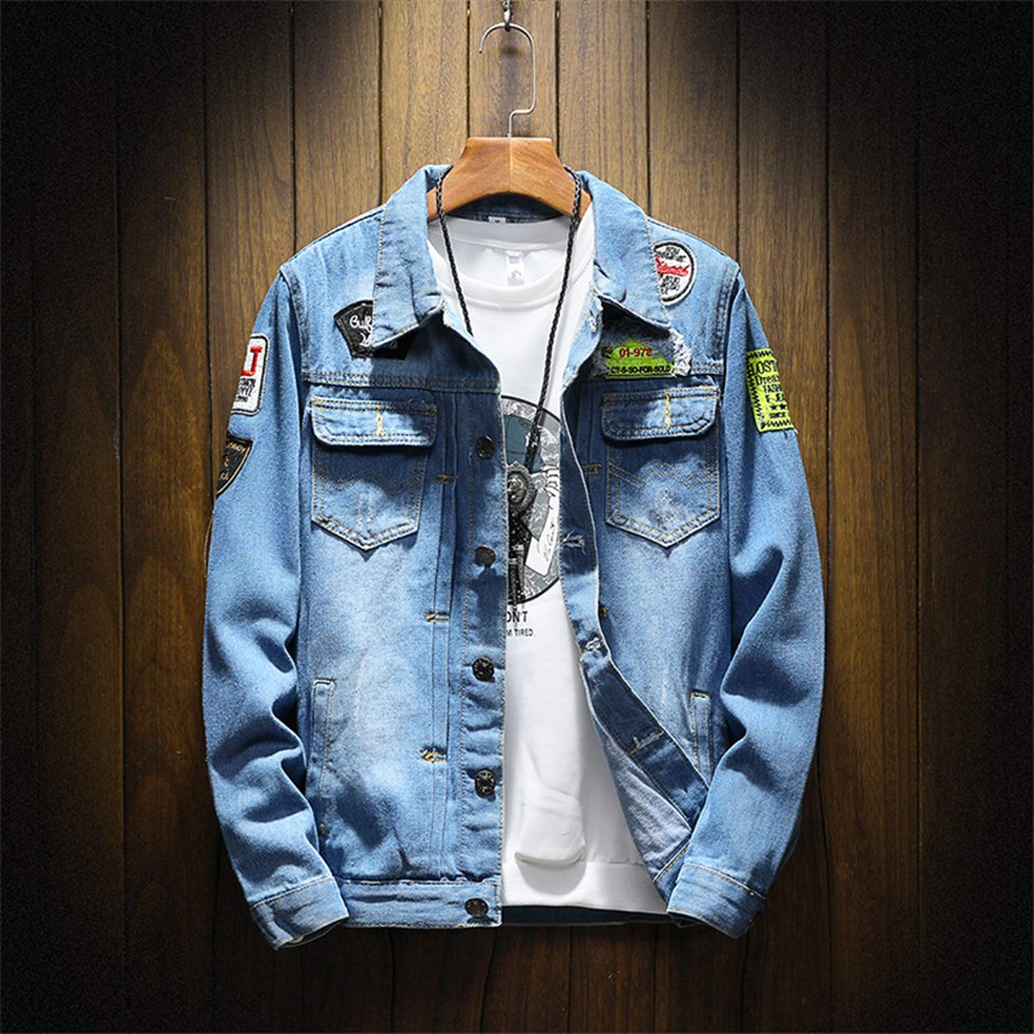 Mens Denim Jacket Plus Size Coat 5XL Casual Bomber Jackets ...