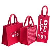 H&B Jute Combo Of 3 Lunch Bag