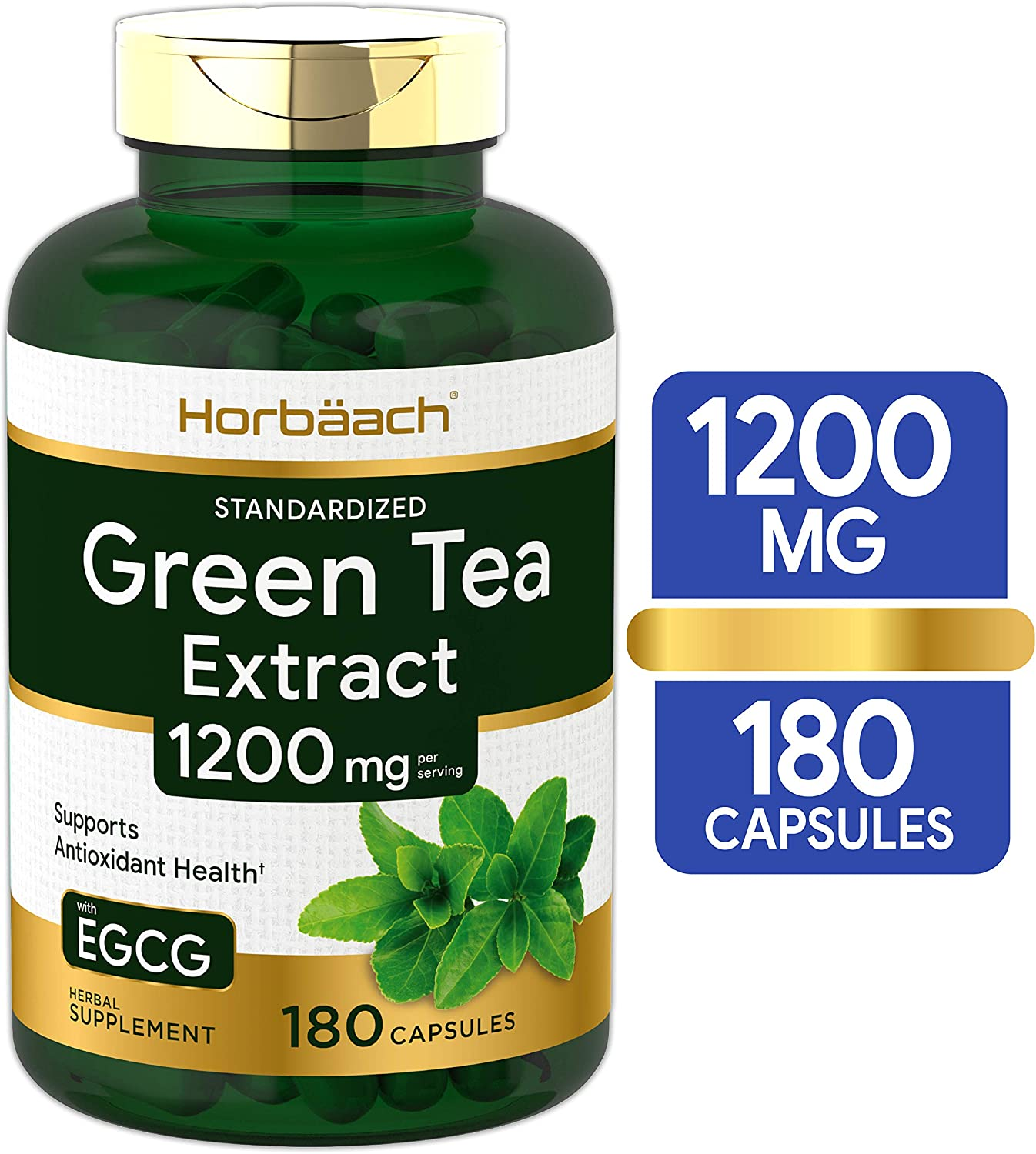 EGCG Green Tea Extract Pills | 1200 mg 180 Capsules | Max Potency | Non-GMO & Gluten Free Supplement | by Horbaach: Health & Personal Care