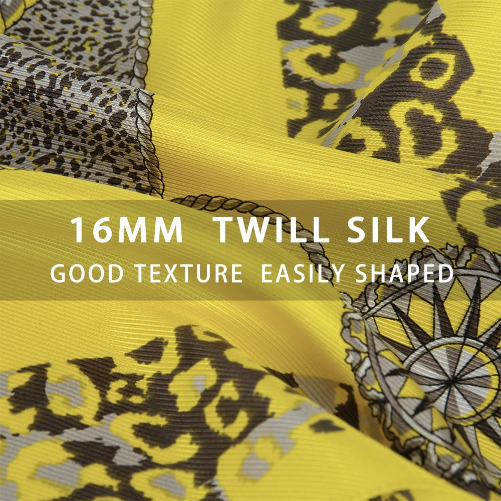 IRRANI Silk Scarves For Women Neckerchief Mulberry Small Square Twill Weave Scarf Headscarf For Hair 25.6*25.6inches(Yellow)