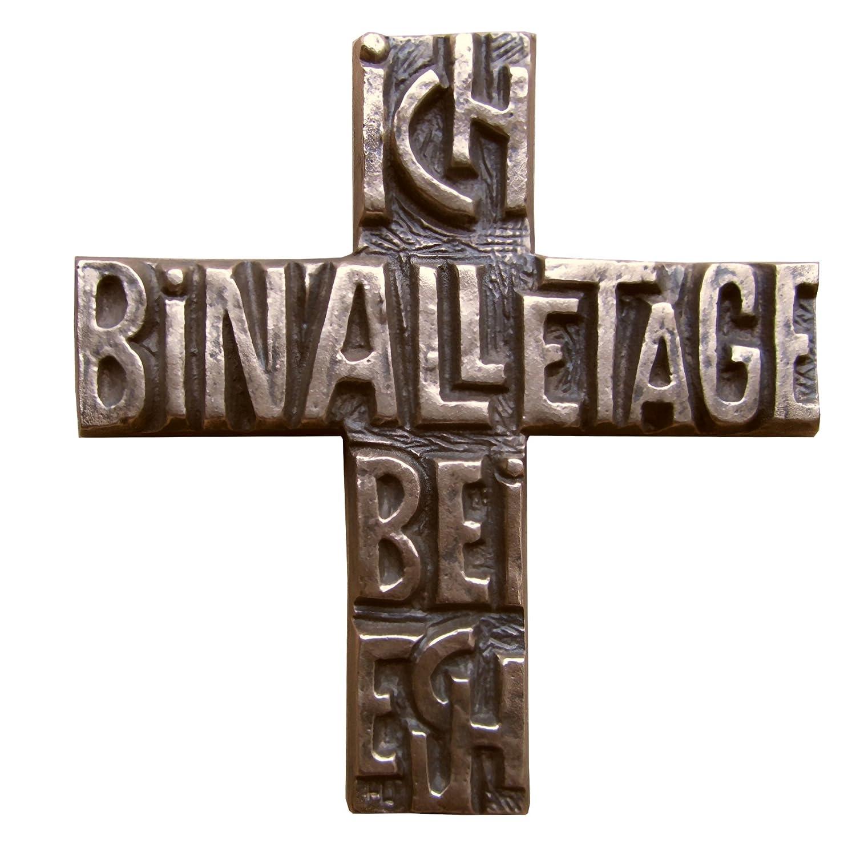 11 cm Wilde Bronzekreuz Bronze Kreuz Ich bin alle Tage bei euch 12 cm