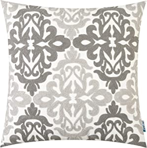 HWY 50 Grey Decorative Embroidered Throw Pillows Covers Cushion Cases for Couch Sofa Living Room Gray Farmhouse Floral Geometric 18 x 18 inch 1 Piece
