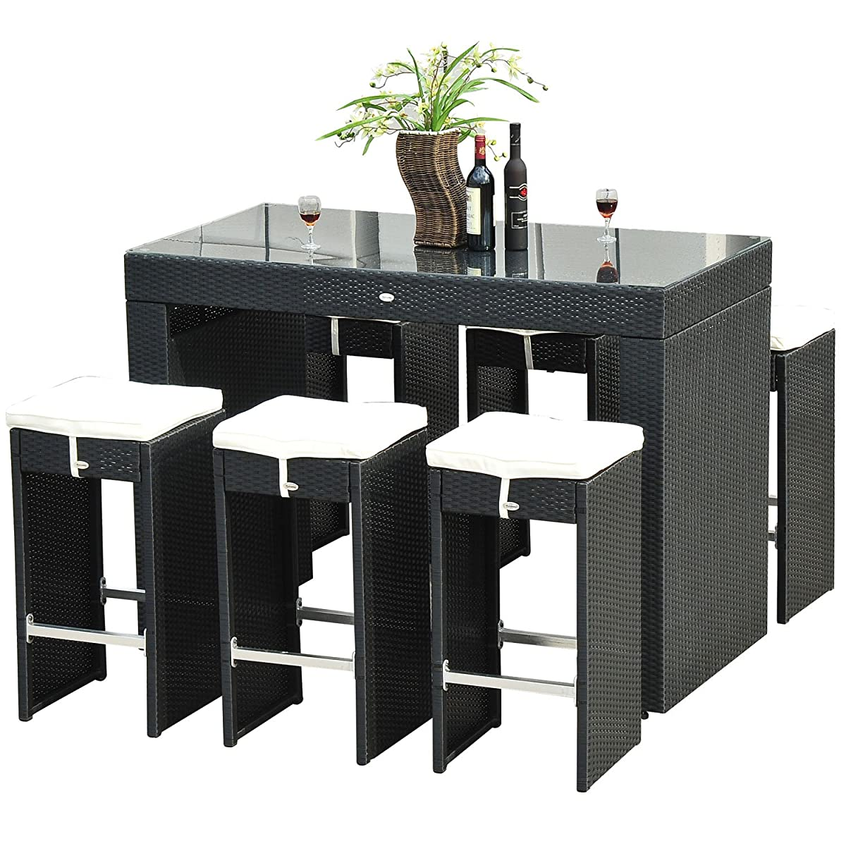 Outsunny 7 Piece Outdoor Rattan Wicker Bar Pub Table & Chairs Patio Dining Set - Black