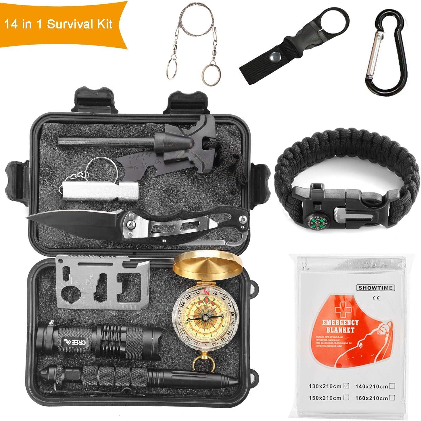 Halcent Kit Supervivencia, 14 Piezas Kit Emergencia con Brujula Silbato Emergencia Mechero Rasqueta Arrancador de Fuego Kit de Supervivencia Militar para Viajar Senderismo Escalada Caza
