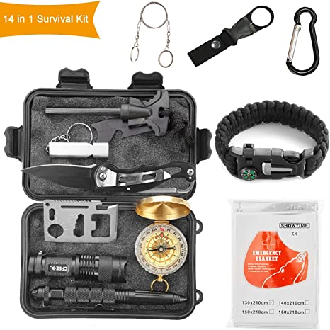 Halcent Kit Supervivencia, 14 Piezas Kit Emergencia con Brujula ...