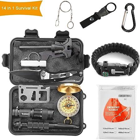 Halcent Kit Supervivencia, 14 Piezas Kit Emergencia con Brujula Silbato Emergencia Mechero Rasqueta Arrancador de Fuego Kit de Supervivencia Militar ...