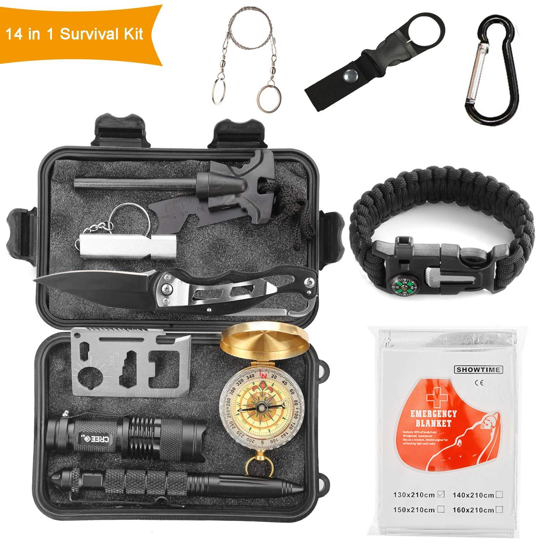 4 Piezas Kit De Supervivencia: tarjeta multifuncional de bolsillo, arranque de fuego, brújula, silbato, linterna, manta de emergencia, pluma táctica , caja de almacenamiento impermeable.