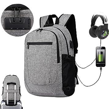 FOONEE Mochila para Ordenador portátil de 17 Pulgadas con Puerto de Carga USB y Puerto de Auriculares para Viajes, Negocios, Colegio: Amazon.es: Hogar