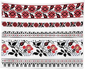 "Lunarable Ukrainian Tapestry, Russian Rushnik Floral Arrangement Eastern European Folklore Ornaments, Fabric Wall Hanging Decor for Bedroom Living Room Dorm, 28"" X 23"", Blue Black"