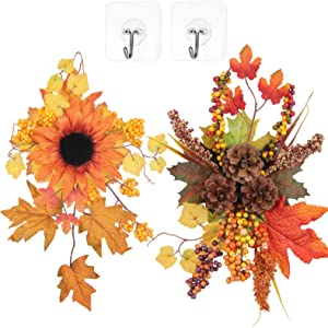U'Artlines 2 Pack Decorative Swag Fall Harvest Maple Leaf Sunflower Berries Pine Cones Wreaths Front Door Wall Window Decor Holiday Ornaments (Sunflower/Pinecone)