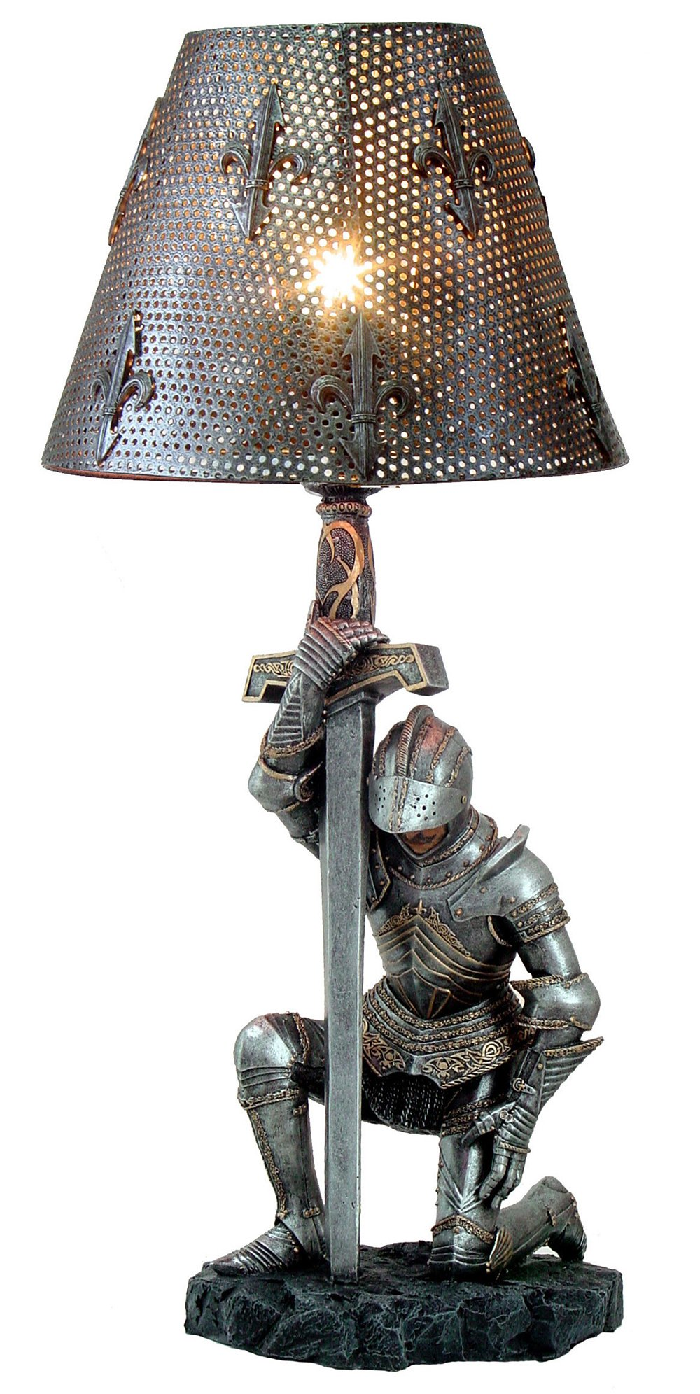 Medieval Knight of Honor Chivalry Sculptural Table Lamp 20 Inch Tall by Pacific Giftware