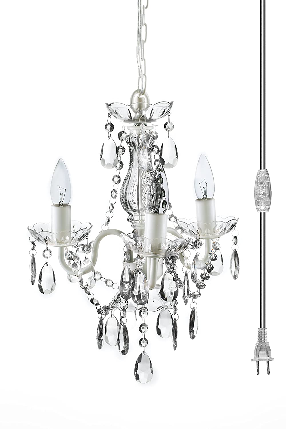 The original gypsy color 3 light mini plug in crystal chandelier for the original gypsy color 3 light mini plug in crystal chandelier for h17 w12 white metal frame with clear acrylic crystals amazon arubaitofo Image collections