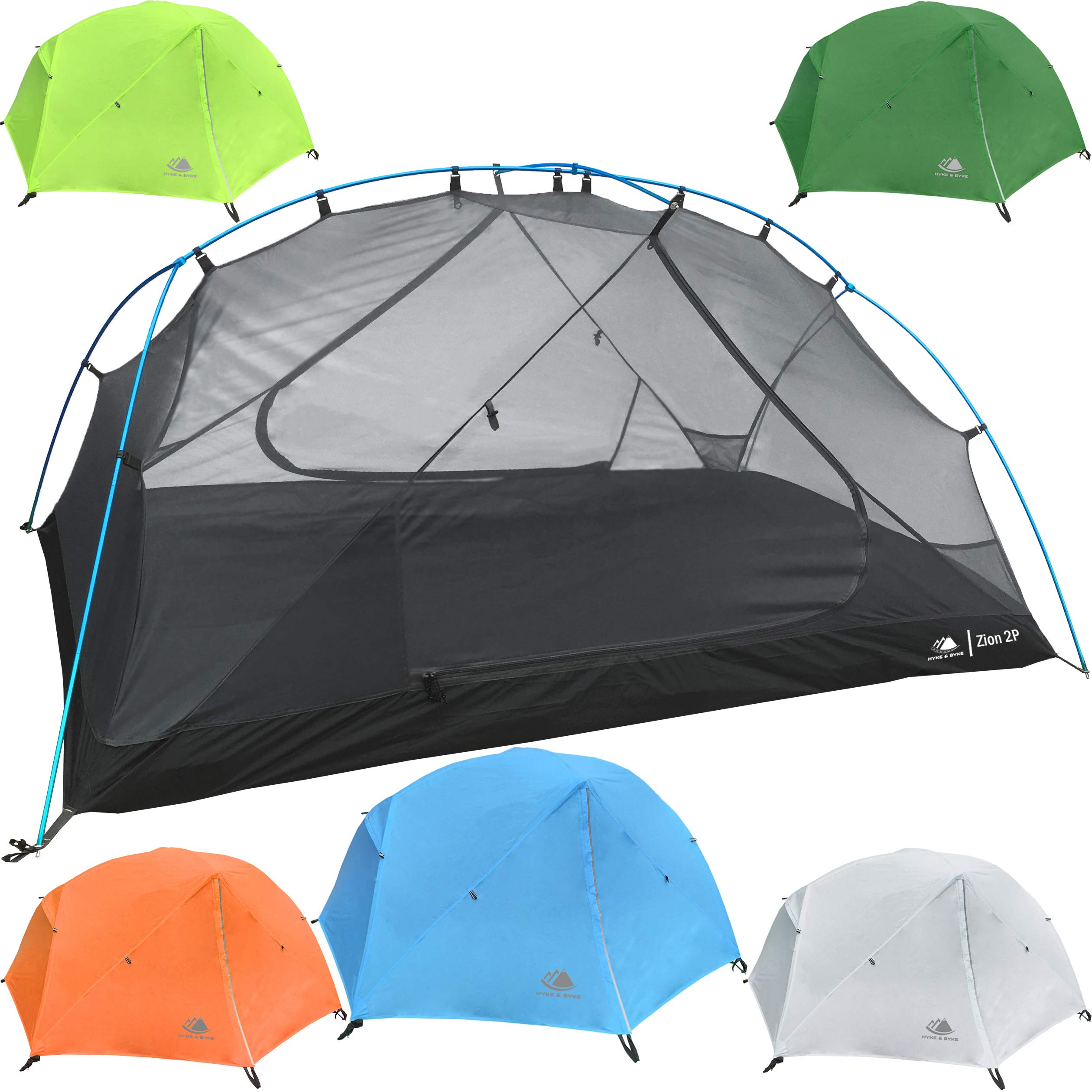 Hyke & Byke 2 Person Backpacking Tent with Footprint - Lightweight Zion Two Man 3 Season Ultralight, Waterproof, Ultra Compact 2p Freestanding Backpack Tents for Camping and Hiking (Blue) by Hyke & Byke